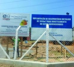 Construção de base de concreto para reservatório metálico de água com capacidade para 1000 m³