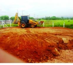 Construção de base de concreto para reservatório metálico de água com capacidade para 500 m³